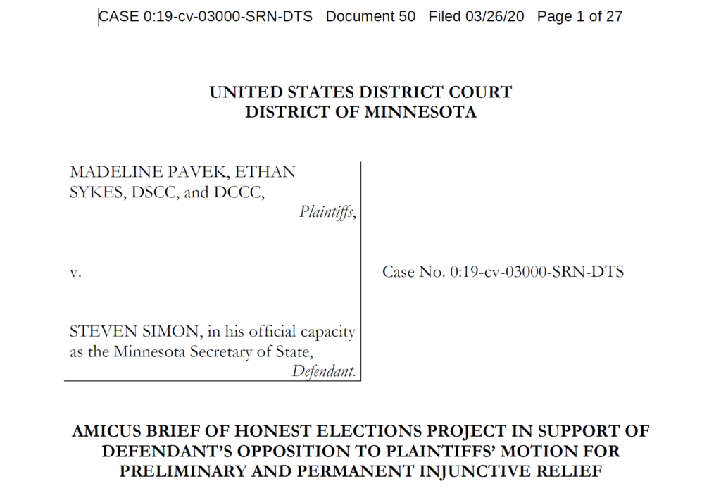 Honest Elections Project Files Brief in Federal Court Defending the State of Wisconsin's Duly Enacted Election Laws